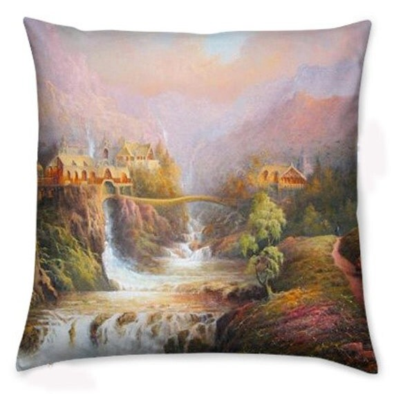 Tolkien, Rivendell, Tolkien Cushion Cover, Pillow Cover, Original Art, ROOBY LANE