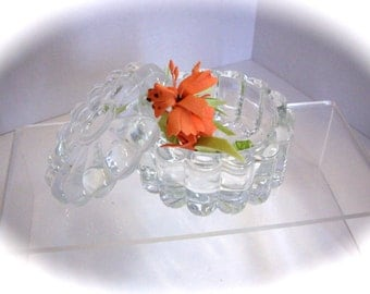 Antique Art Deco Cut Crystal Dresser Trinket Powder Jar Box 1940s