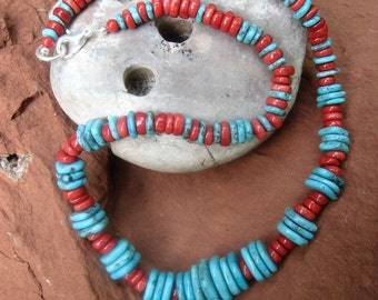 Rich Kingman Turquoise Strand with Bright Sponge Coral - Graduated Strand 18""