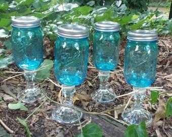 Set 4 Blue Mason Jar Wine Glasses, pint size