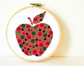 Counted Cross stitch Pattern PDF. Instant download. Psychedelic Apple. Includes easy beginner instructions.