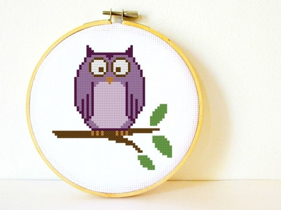 Kids Counted Cross stitch Pattern PDF. Instant download. Little Owl. Includes beginners instructions.