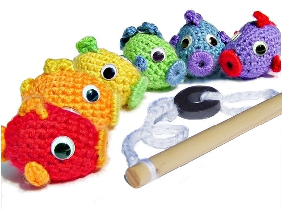 Fishing Set - Crocheted Rainbow Fish & Pole - Magnetic  - *Pattern also available*