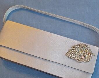 Restyled Purse Silver Grey Gray Rhinestone Leaf Wedding Purse Bridal Party Special Occasion Gift Idea