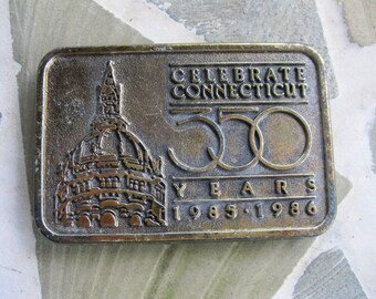 Celebrate Connecticut 350 Years Belt Buckle. Free Shipping USA