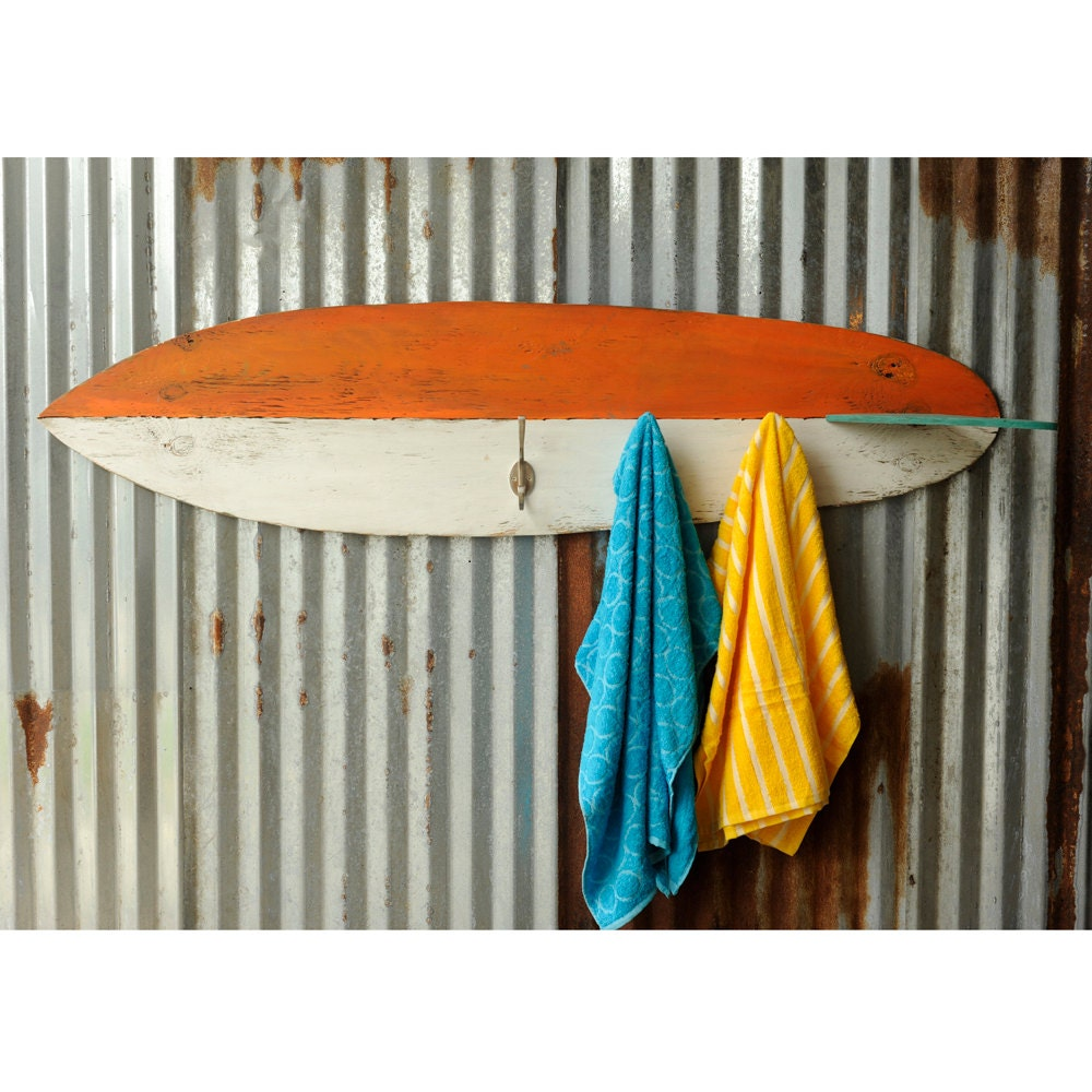 Surfboard towel hook wooden coastal decor beach decor surf for Surf decoration