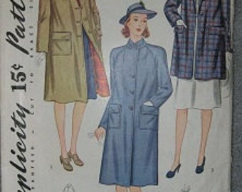 1940's Simplicity 3499 Size 12 Coat Sewing Pattern