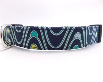 Navy Blue Dog Collar, Navy Blue Collar, Blue Dog Collar, Boy Dog Collar, Cool Dog Collar, Wavey Dog Collar, Large Dog, M, L, and Leash Sizes