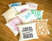 "16"" - ish handmade Decorative Pillows - Buy two get one free - Organic natural flour sack tea towel cover"