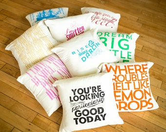 "16"" - ish handmade Decorative Pillows - Buy two get one free - Organic natural flour sack tea towel cover"