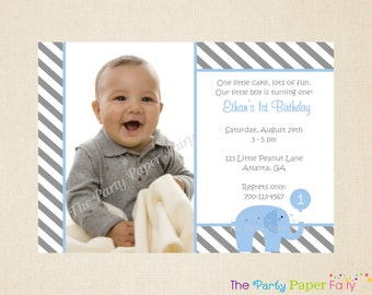 Set of 12 - Little Peanut Blue Elephant Invitation, Elephant Birthday Invitation, Photo Invitation - Blue & Grey (LPBG - 1)