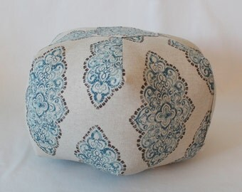 "18"" Pouf Ottoman Floor Pillow Monroe Cadet/Oatmeal"
