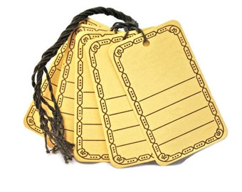 25 Blank Buff / Manila Lined Tags with designs and string- decorative - wedding - rustic