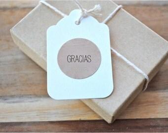 "60  GRACIAS- Spanish thank you  -1"" Kraft or White  round labels/seals - stickers seals"