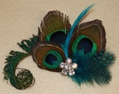 YOU PICK COLOR Natural Peacock Sword Feathers with Spotted Turquoise Feathers Boutique Hair Clip Fascinator Photp Prop