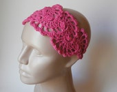 Crochet HairBand - Crochet HeadBand - Hair Accessories - Crochet HairBand in Hot Pink