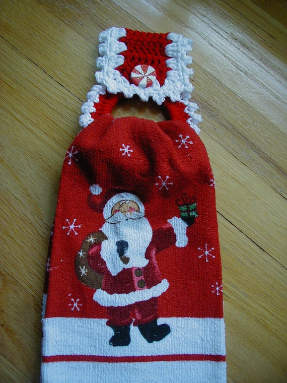 Free Crochet Patterns For Kitchen Towel Holders : Christmas Crochet Towel Holder with towel Crochet Towel