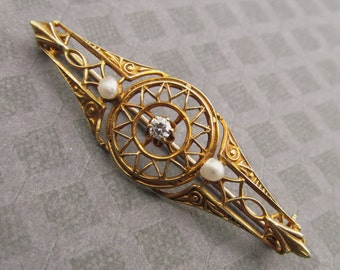 Art Nouveau 14 Karat Gold Brooch With Diamond And Seed Pearls Antique Pin Jewelry