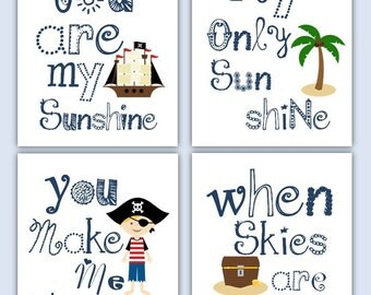 Pirate Art for Kids // Pirate Decor // Pirate Art Prints // You Are My Sunshine Art// Pirate Nursery Decor // Pirate Wall Art 4-8x10 PRINTS