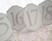 Elegant Silver and Ivory / Cream Wedding Table Numbers - Table Number Cards - Table Numbers Signs - Table Numbers Wedding -