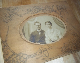 Antique Western Looking Photograph with Wooden Frame