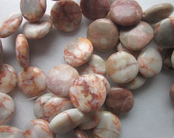 Coin Marble Beads 16mm 12 Beads