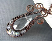 Wire Wrapped Necklace Crystal Necklace Wire Wrapped Pendant Copper Jewelry Wire Wrapped Jewelry copper Pendant