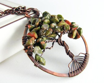 Tree Of Life Pendant Wire Wrapped Jewelry Unakite Necklace Copper Jewelry Wire Wrapped Pendant