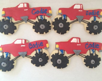 Monster Truck sugar cookies - decorated cookies - sugar cookies - cookie favors - monster truck birthday - monster struck party