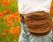 Unisex Chestnut brown wax cotton Bumbag, bag, fanny pack, oil cloth, ykk zips, khaki lining