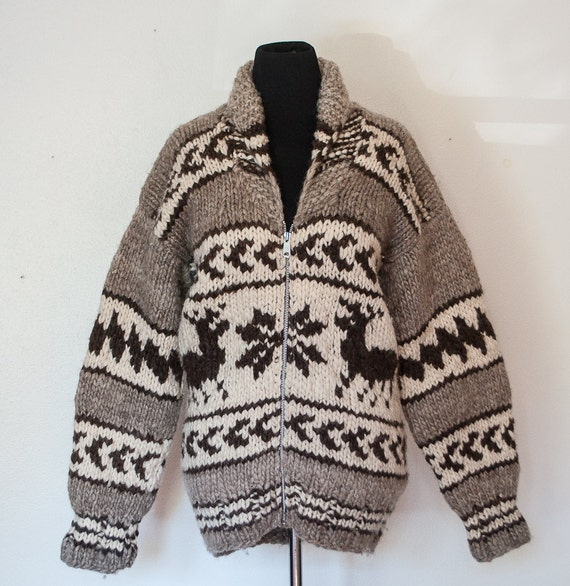 Vintage Cowichan Sweater Wool Knit Snowflake Grey White