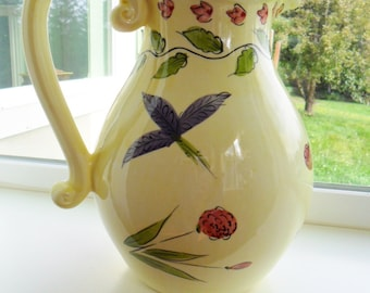 Vintage Ceramic Pitcher Hand Painted Made in Portugal Retro Yellow Flowers Vase Retro Purple Green GREENERY