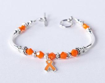 Leukemia Cancer Orange Awareness Ribbon Charm Bracelet: Multiple Sclerosis (MS), Kidney & Spinal Cancer, Kidney Disease, RSDS. Show support