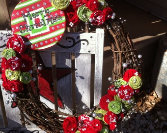"""Christmas 18"""" Rosette Wreath with Hand-Painted Wood Sign"""