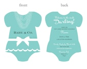 Baby and Co. Bows & Pearls Aqua Baby Shower Invitation (Digital Printable)
