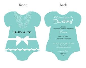 Baby and Co. Bows & Pearls Aqua Baby Shower Invitation (Digital Printable)