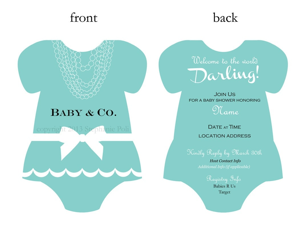 baby and co bows pearls aqua baby shower invitation