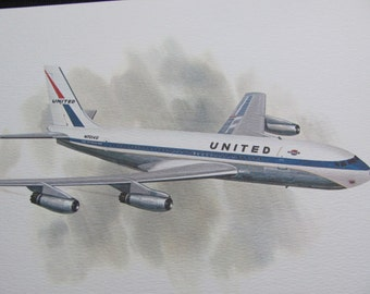 Vintage United Airlines Print Poster - Boeing 720 1960 -1972 - Galloway
