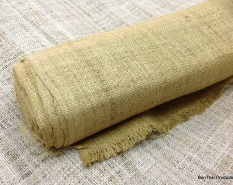 "100% Handwoven Raw Hemp Fabric Textile from Thai Hmong Hilltribe 14""x8yrd in Natural Wheat"