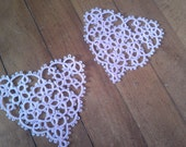 Baby pink tatted lace hearts Valentines motif applique set of 2