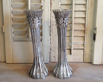 Tall Silver Candle Stick Holder Pair of Candle Holders