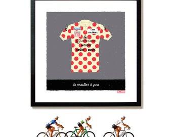 Tour de France Art, Cycling Gifts, Polka Dot Jersey, King of the Mountains, Art Print