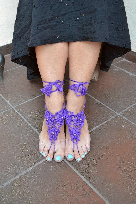 purple crochet Bidal Barefoot Sandals, Bridal Foot Jewelry, Beach Wedding Barefoot Sandals, Barefoot Wedding Sandal, Boho Wedding Shoes
