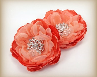 Peach Fabric Flowers - Satin and Chiffon Brooch Pin, Shoe, Hair Clip for Bridal Party, Brides, Bridesmaid or for an Event , Photo Prop - Ana