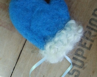 Needle Felted Wool Blue Winter Mitten White Curly Cuff Christmas Santa Ornament