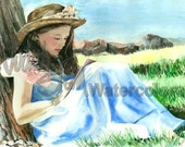 """Girl Writing in Dairy Book, Blue Dress & Straw Hat / Flower, Children Watercolor Painting Print, Wall Art, Home Decor, """"I've Got a Secret"""""""