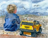 "Beach Boy with Yellow Hummer Truck, Seashells, Blue Shirt and Shorts, Children Watercolor Painting Art Print, Wall Art ""Bird Tales"" by Stein"