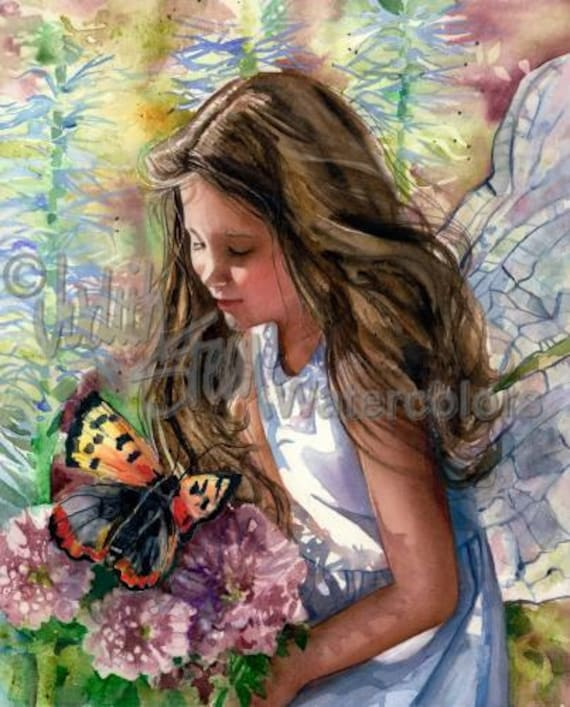 """Fairy Girl with Butterflies, Flowers, Fantasy, White Dress, Children Watercolor Painting Print, Wall Art, Home Decor, """"Pocketfull of Posies"""""""