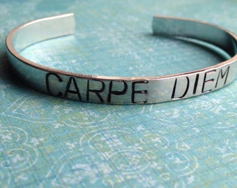 Custom Hand Stamped Large Letter Aluminum Skinny Cuff Bracelet- YOU PERSONALIZE- Add Your Own Phrase
