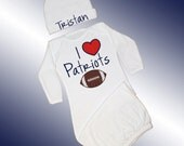 Baby Pajamas - I Love Patriots Football Applique - Personalized 2 Piece Sleeper Set - Long Sleeved Gown and Beanie Hat - Free Shipping